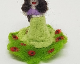 Lady's Standing, Needle felted, Handmade, Soft sculpture