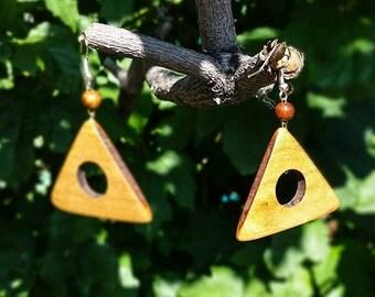 Geometric Earrings, Triangle Earing, Wood Earrings, Handmade Earrings, Natural Wood Jewelry