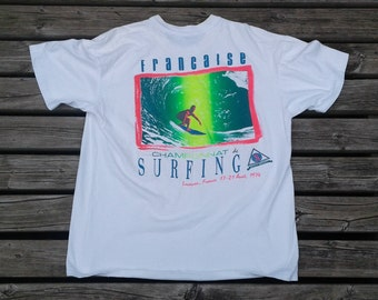 Vintage 80's / 90's Francaise European Surfing Association double-sided white t-shirt XL