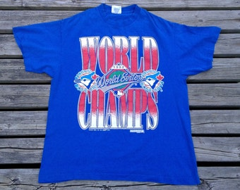 1992 Vintage Toronto Blue Jays World Series Champs t-shirt Made in USA by Trench Ultra Large