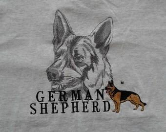 Beautiful Deadstock 80's / 90's vintage German Shepard embroidered t-shirt medium