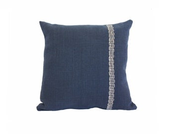 """Hand Embroidered Linen Throw Pillow - """"Links"""" in Navy - 18""""x18"""""""