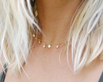 Large bezel cz charm necklace - gold necklace - choker - choker necklace - cz necklace - cubic zirconia - silver necklace - choker - E38089