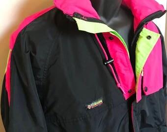 90s Columbia Neon Ski Jacket Vintage Nylon Shell Winter Coat Hoodie Snow Snowboard Windbreaker Mountain Cabin Vail Aspen Warm Rare Retro M