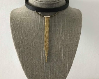 Golden Waterfall Full Grain Leather Choker