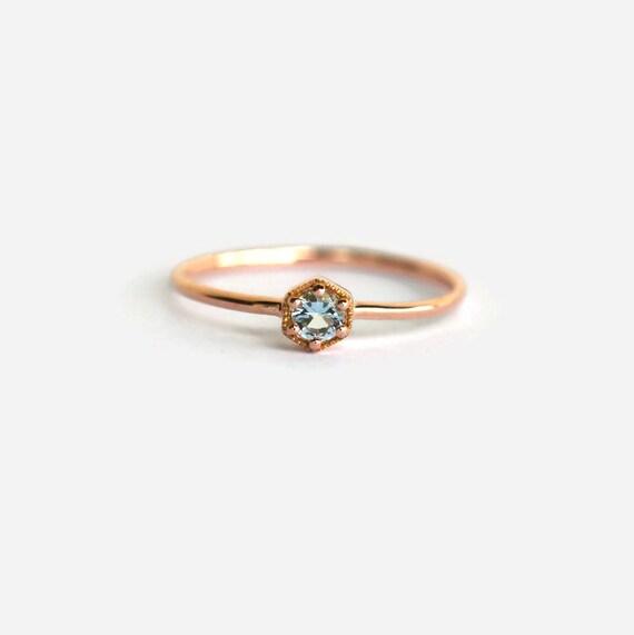 aquamarine ring rose gold hexagon ring rose gold ring