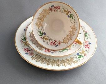 Pretty Vintage 100th Anniversary Bareuther Waldsassen Bavaria Porcelain Trio Tea Set Made in 1966