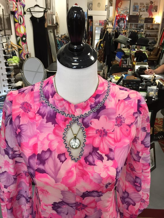 Vintage 1960s Pink and Purple Flowered Jumpsuit