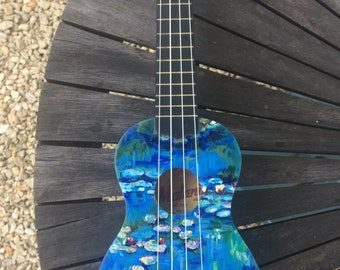 Monet Water Lilies Hand-Painted Ukulele