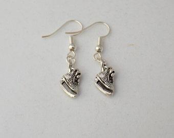 Ice skating earrings gift, ice skates, sterling silver skating earrings, figure skating sports earrings, festive winter earrings