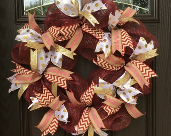 OU Wreath / Boomer Sooner / University of Oklahoma / Norman / Maroon White and Gold