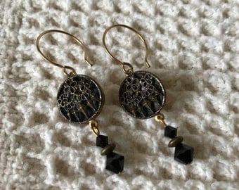 Vintage Style Earrings with Antique Metal Buttons from the 1800s-Antique Earrings-Button Earrings-Victorian Style-Unique-Upcycled Jewelry