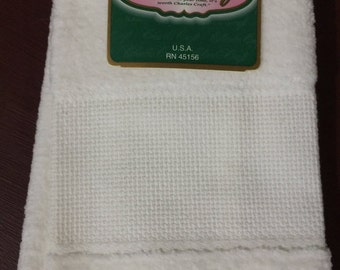 Charles Craft Velour Fingertip Towel  White 14 count