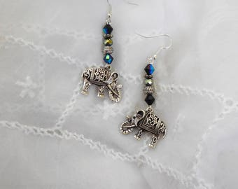 SILVER STATEMENT EARRINGS Silver Elephant Crystal Dangle