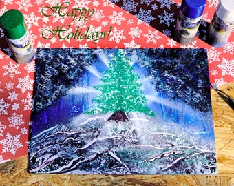 The last Evergreen, 15x20 inch Spray paint art on foamcore posterboard, christmas decoration, yule, wall art, inspirational wall art