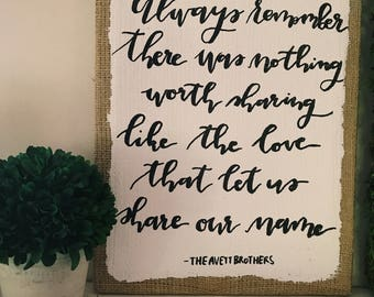 burlap lyrics sign for wedding