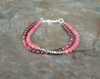 Multistrand Bracelet, Garnet Bracelet, Pink Gemstone Bracelet, Red Bracelet for Women, Pink Bracelet for Women, Layered Bracelet