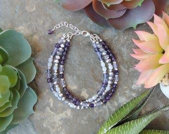 Beaded Bracelet, Bohemian Jewelry, Gemstone Bracelet, Layered Bracelet, Purple Amethyst Bracelet for Women, February Birthstone Bracelet