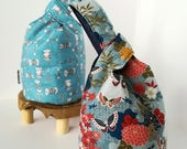 Musubi Bag for lunch, Japanese knot bag made with Japanese quilting fabric, kimono fabric, batted and lined, notions bag
