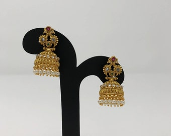 Indian Jhumki Jhumka Earrings - Temple Jhumka Earrings - Temple Jewelry - Indian Jewelry - Temple Earrings - Bollywood Earrings -