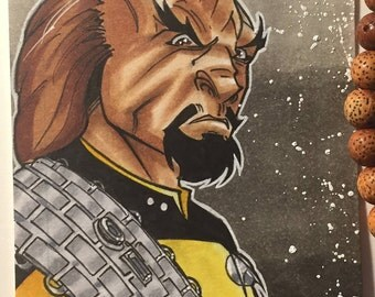 Worf Star Trek TNG Sketch Card