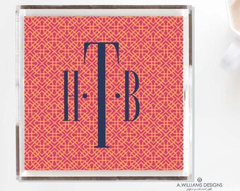 Monogram chinoiserie Tray/Pink and Orange luciteTray Monogrammed office desk organizer Tray/ Acrylic catch all in two sizes 6x6-12x12