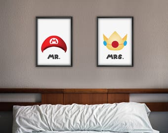 Mario and Princess Peach print - Mr. & Mrs. print - Mario Art - Princess Peach Art - Video Games print - Digital download printable