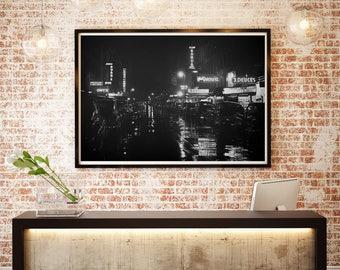 New York City Photograph, Jazz Clubs, Black and White, Neon Lights, Rainy Night, 1930s Nightclubs, NYC
