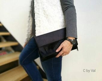 Handbag - Romy - faux suede/fur - black