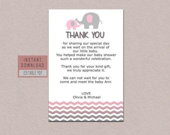 Editable thank you card, elephant thank you cards, thank you cards editable, baby shower thank you cards printable, elephant thank you notes