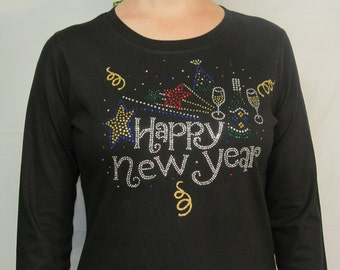 Rhinestone Happy New Year Shirt , bling bling shirts, rhinestone bling shirts, glitter, bling t shirt from Cindy's Handmade Shirts Boutique