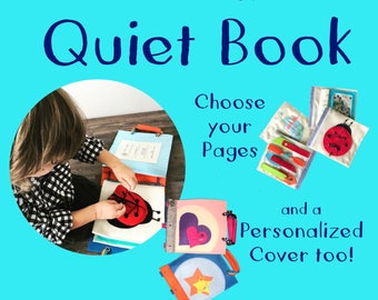 Custom Quiet Book for Preschooler - Choose a Cover + Activity Pages - Handmade by TinyFeats - Best Travel Activity for Kids - Fast Shipping
