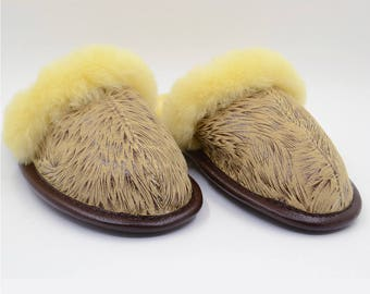 Sheepskin Slippers, Warm Natural Sheepskin Shoes, Winter Fur Slippers, Women Moccasins. Gifts for Him and Her, Super Soft and Comfortable
