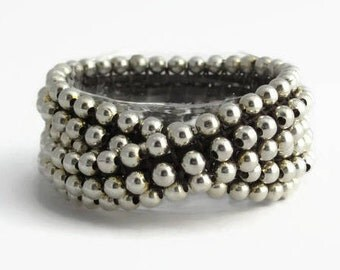 Two strand silver beaded bracelet: 2 wrap leather bracelet, Woven leather silver bracelet, Double beaded bracelet chic, Zamak strand jewelry