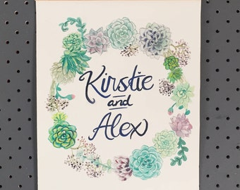Customisable Succulent Wreath Original Water Colour A4 (hanging frame included)