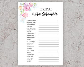 Pink word scramble etsy for Bridal shower games that aren t cheesy