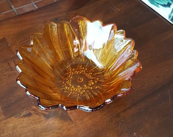 1960's Indiana Glass LILY PONS Amber Bowl