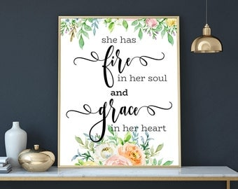 she has fire in her soul and grace in her heart girls room decor print teen wall art girls power motivational quotes printable downloads art