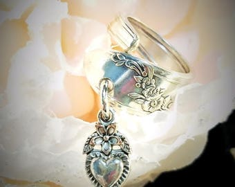 Silver Plated Spoon Charm Ring