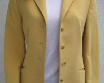 Vintage 1990's by BASLER, Germany Blazer Style Wool & Angora Jacket. Soft Mustard Yellow - Fully Lined. Size EU38, France 40, UK 10/12.