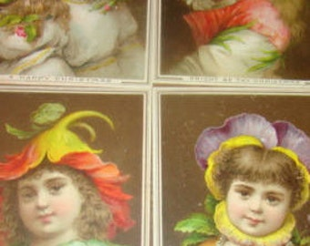 4 Pieces of Victorian Scrap (Fantasy, Girls Dressed As Flowers)
