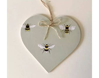 Decoupaged Hanging Heart Bee Print - Countryside Country Kitchen Decor Gift ~ 10cm 8cm 5cm  sizes