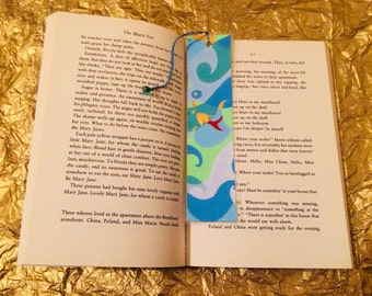 """Colourful bookmark, fish in wavy water - """"dive deep & make waves"""""""