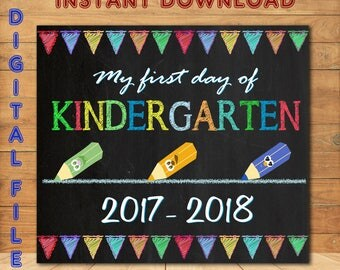 First Day of Kindergarten, Instant Download First Day, Back To School Sign, First Day of School Boy Chalkboard Style Sign, Printable Sign
