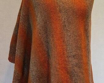 Brown orange poncho, eco wool poncho, winter poncho, knit poncho, knit cape, wool cape, brown cape, warm poncho, winter cape, eco poncho