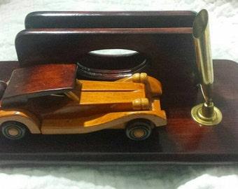 Retro Wood Car Pen and Letter Holder