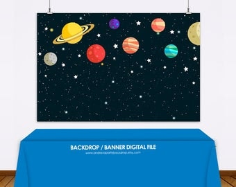 planets and stars Backdrop, galaxy, space backdrop, birthday backdrop, planets and stars theme, planets and stars banner - Digital File