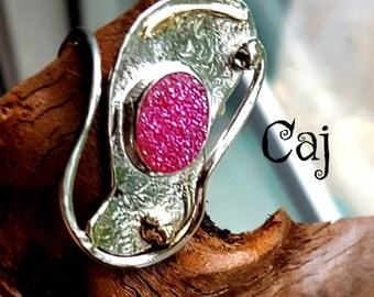 Statement Druzy Artisan Ring in Mixed Metal