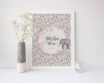 Custom Baby Elephant Print, Nursery Wall Decor, Baby Art, Birth Announcement, Frameable Artwork, Personalized New Baby Gift, Name Birth Date
