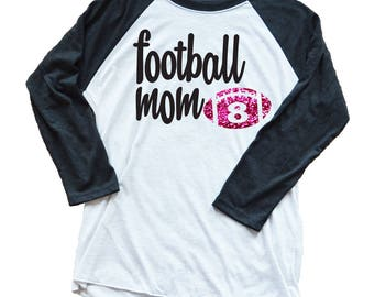 Breast Cancer Awareness Personalized 3/4 Length Sleeve Football Shirt - Football Mom - Game Day Shirt - Custom Number Pink Glitter - October